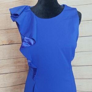 Carmen Marc Valvo Dresses - Carmen Marc valvo royal blue ruffle cocktail gown